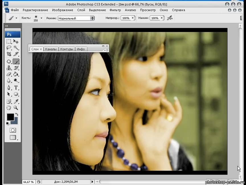 сделать цветное фото из черно белого фотошоп